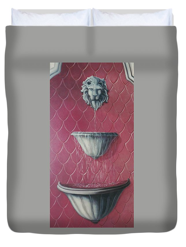 Fountain Duvet Cover featuring the painting Fountain Of Youth by Suzn Art Memorial