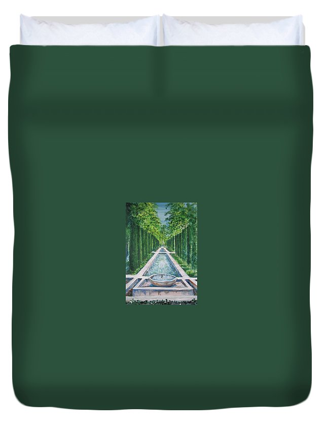 Fountain Duvet Cover featuring the painting Fountain Palma De Mallorca Capital by Lizzy Forrester