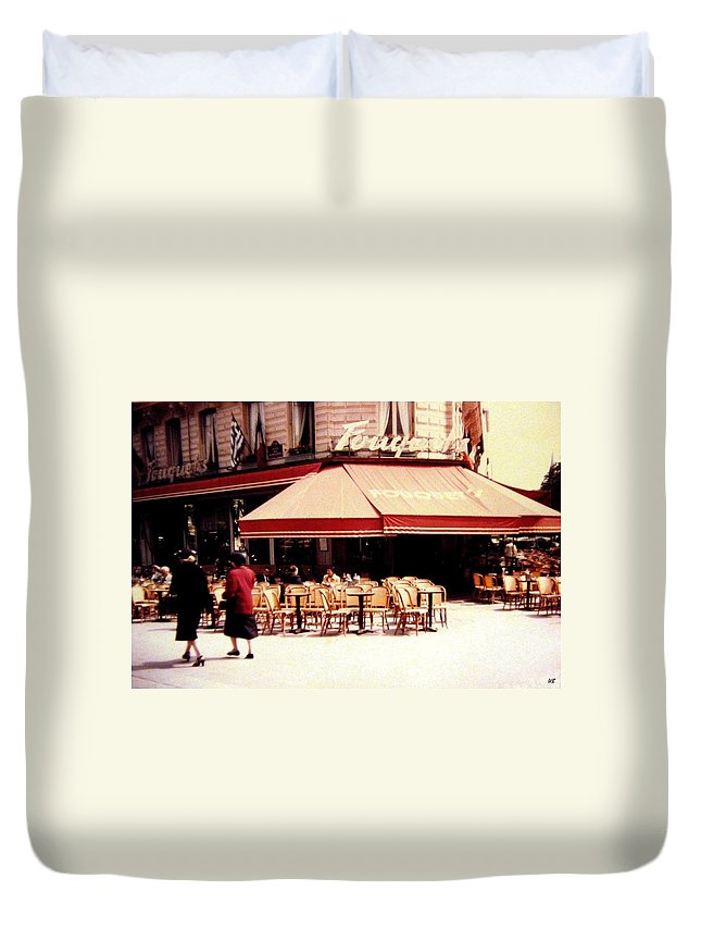 1955 Duvet Cover featuring the photograph Fouquets Of Paris 1955 by Will Borden