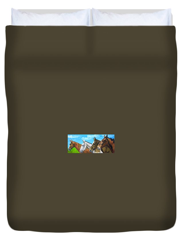 Horses Duvet Cover featuring the painting Four Amigos by Michael Lee