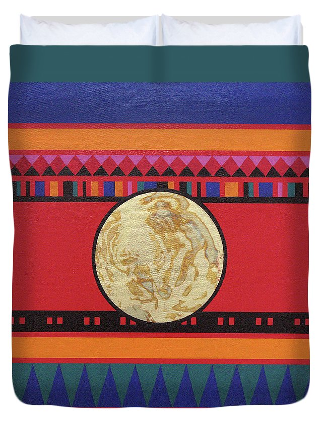 Abstract Duvet Cover featuring the painting Four Corners - Seminole by Elaine Booth-Kallweit