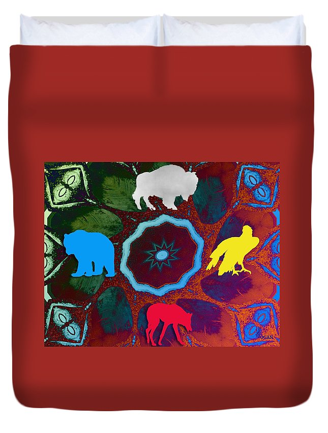 Wildlife Duvet Cover featuring the digital art Four Directions  -009 by Will Logan
