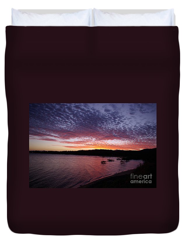 Landscape Duvet Cover featuring the photograph Four Elements Sunset Sequence 1 Coconuts Qld by Kerryn Madsen - Pietsch