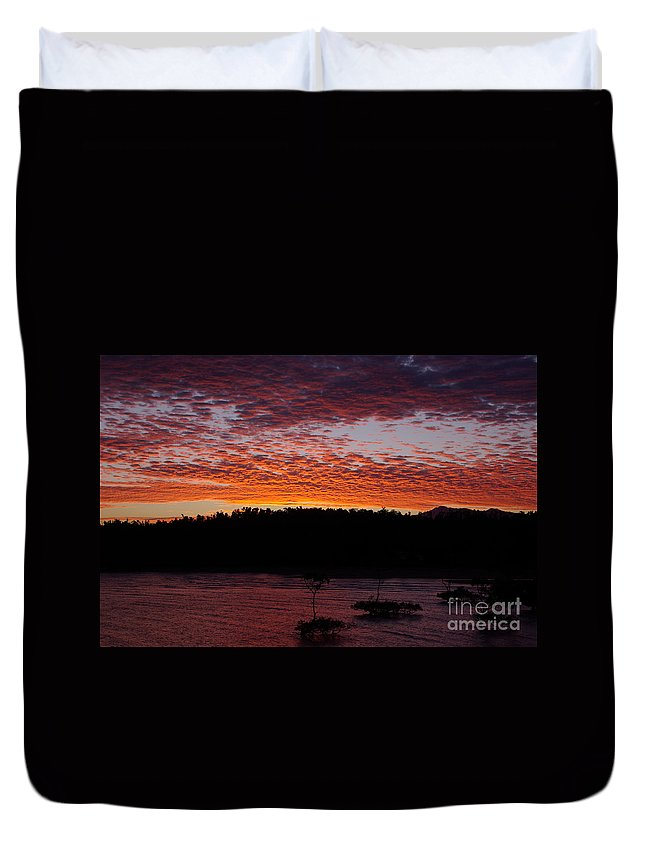 Landscape Duvet Cover featuring the photograph Four Elements Sunset Sequence 2 Coconuts Qld by Kerryn Madsen - Pietsch