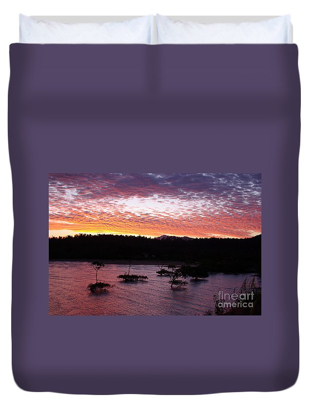 Landscape Duvet Cover featuring the photograph Four Elements Sunset Sequence 3 Coconuts Qld by Kerryn Madsen - Pietsch