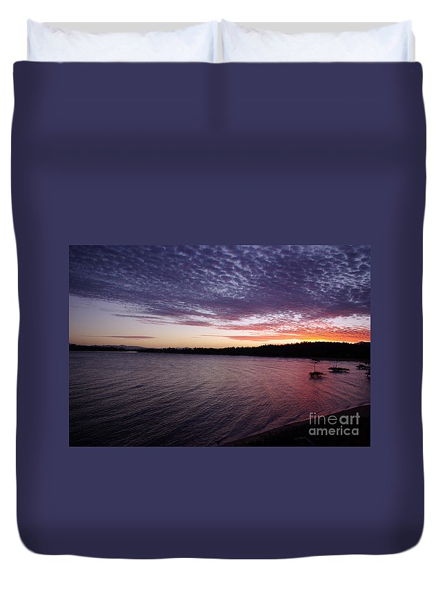 Landscape Duvet Cover featuring the photograph Four Elements Sunset Sequence 4 Coconuts Qld by Kerryn Madsen- Pietsch