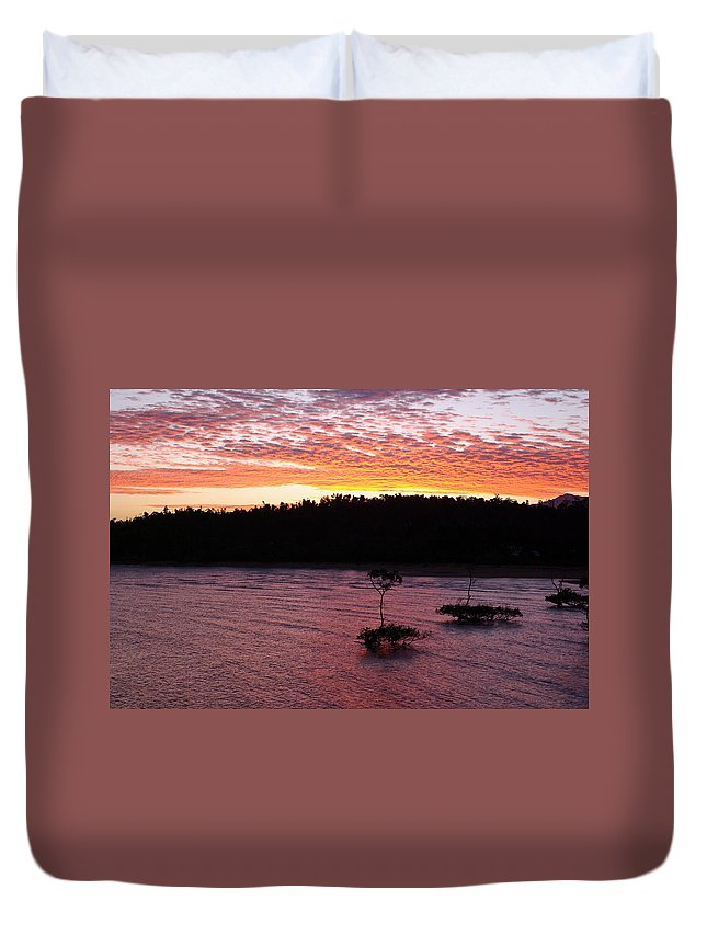 Landscape Duvet Cover featuring the photograph Four Elements Sunset Sequence 5 Coconuts Qld by Kerryn Madsen - Pietsch