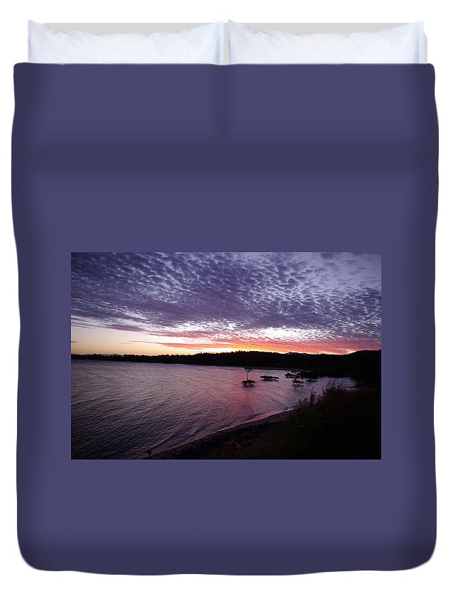 Landscape Duvet Cover featuring the photograph Four Elements Sunset Sequence 6 Coconuts Qld by Kerryn Madsen-Pietsch