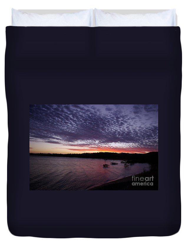 Landscape Duvet Cover featuring the photograph Four Elements Sunset Sequence 7 Coconuts Qld by Kerryn Madsen - Pietsch