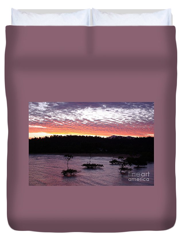 Landscape Duvet Cover featuring the photograph Four Elements Sunset Sequence 8 Coconuts Qld by Kerryn Madsen - Pietsch