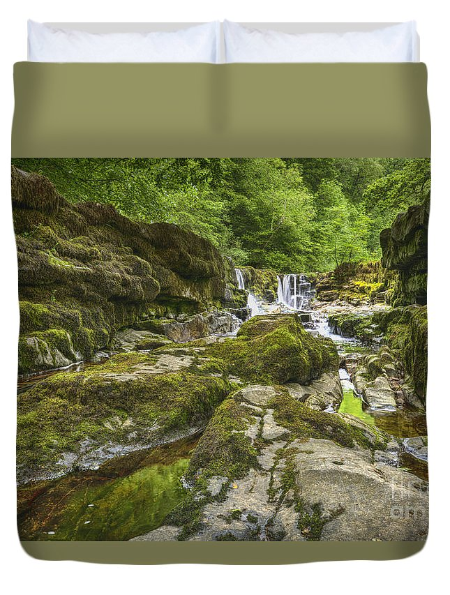 Waterfall Duvet Cover featuring the photograph Four Falls Walk Waterfall 3 by Steev Stamford