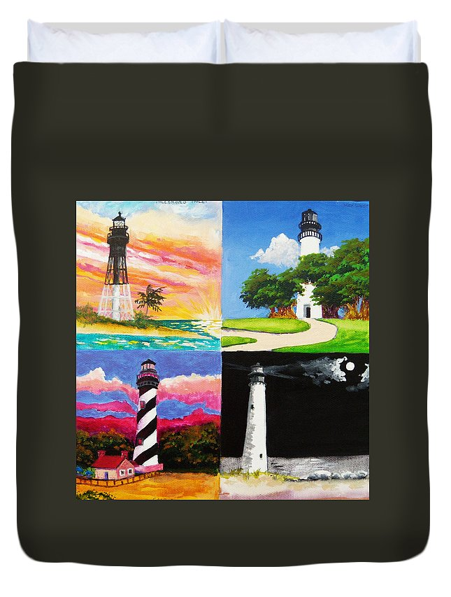 Lighthouses Duvet Cover featuring the painting Four Florida Lighthouses by Anne Marie Brown