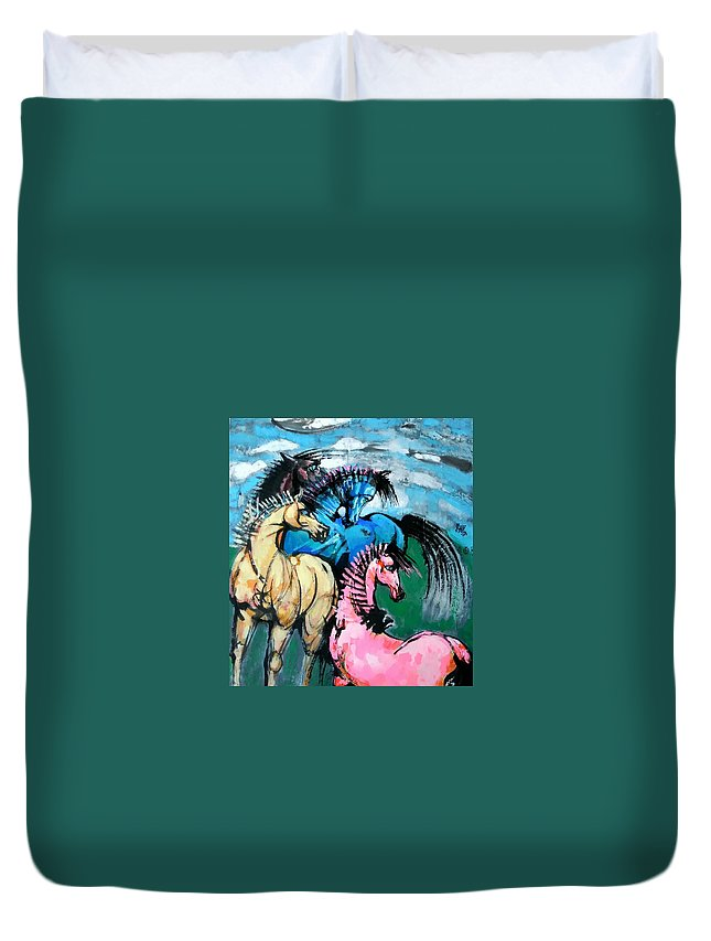 Horses Duvet Cover featuring the painting Four Horses by Weidong Wang