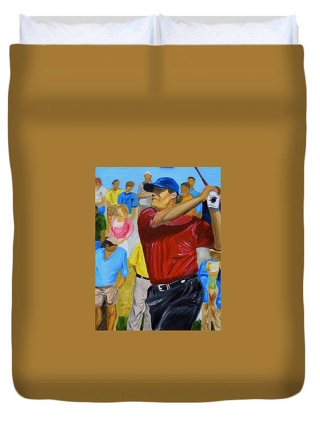 Golf Duvet Cover featuring the painting Four by Michael Lee