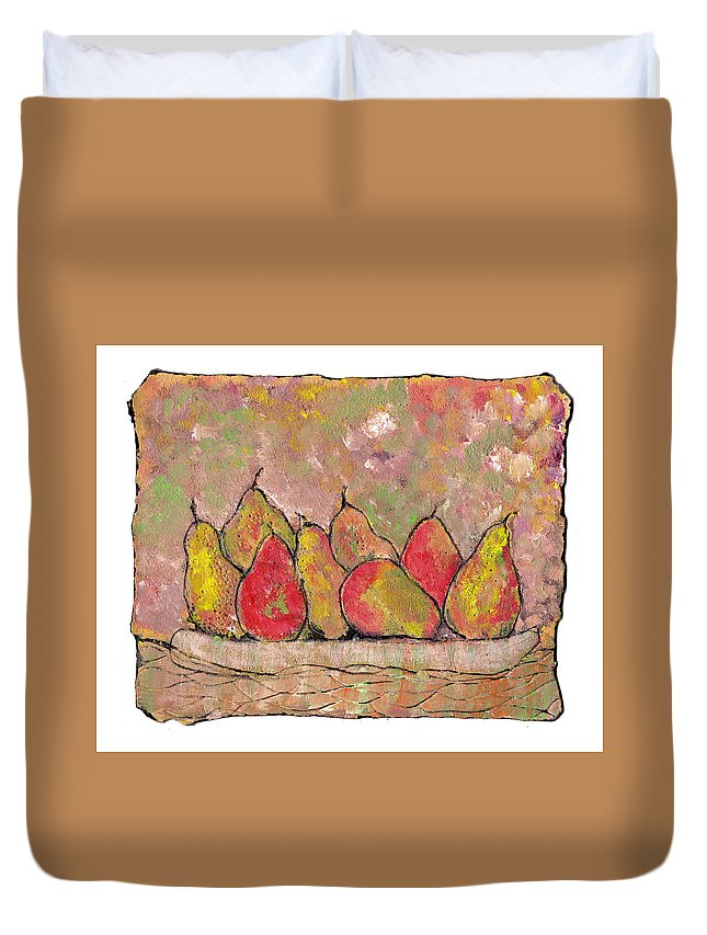 Pears Duvet Cover featuring the painting Four Pair Of Pears by Wayne Potrafka