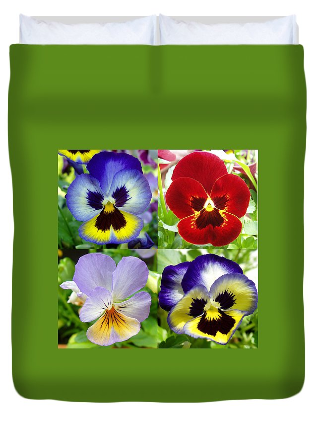 Pansy Duvet Cover featuring the photograph Four Pansies by Nancy Mueller