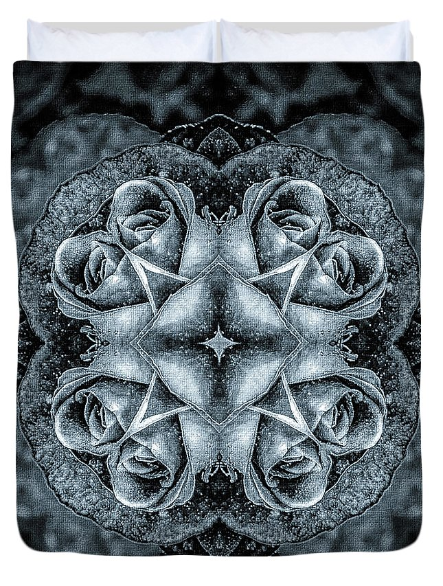 Mona Stut Duvet Cover featuring the digital art Noir Four Roses Symmetrical Focus by Mona Stut