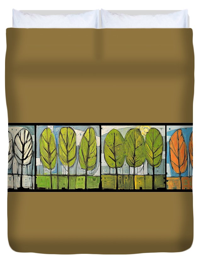 Trees Duvet Cover featuring the painting Four Seasons Tree Series by Tim Nyberg