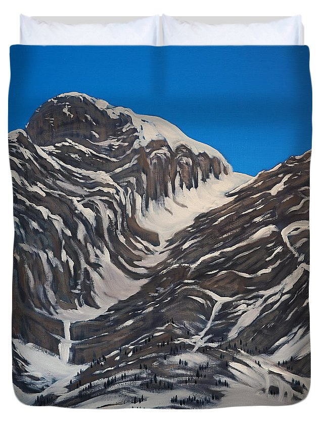 Mountains Duvet Cover featuring the painting Four Sisters 2 by Crafty Daniel