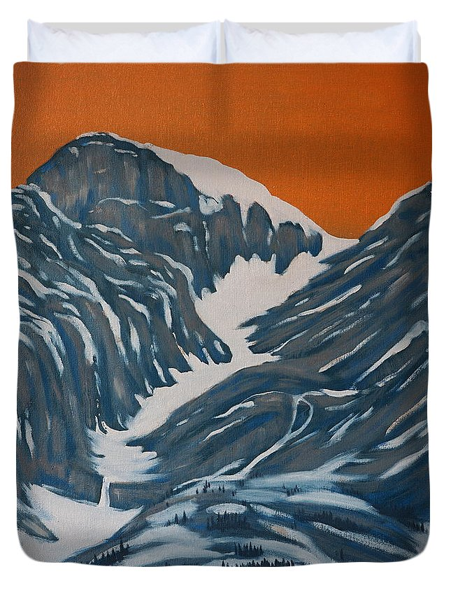 Mountains Duvet Cover featuring the painting Four Sisters 3 by Crafty Daniel