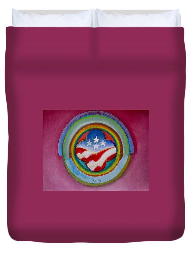 Button Duvet Cover featuring the painting Four Star Button by Charles Stuart