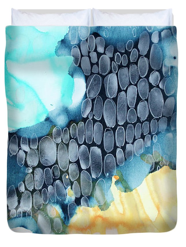 Abstract Duvet Cover featuring the painting 4 Winds - Sirocco by Claire Desjardins