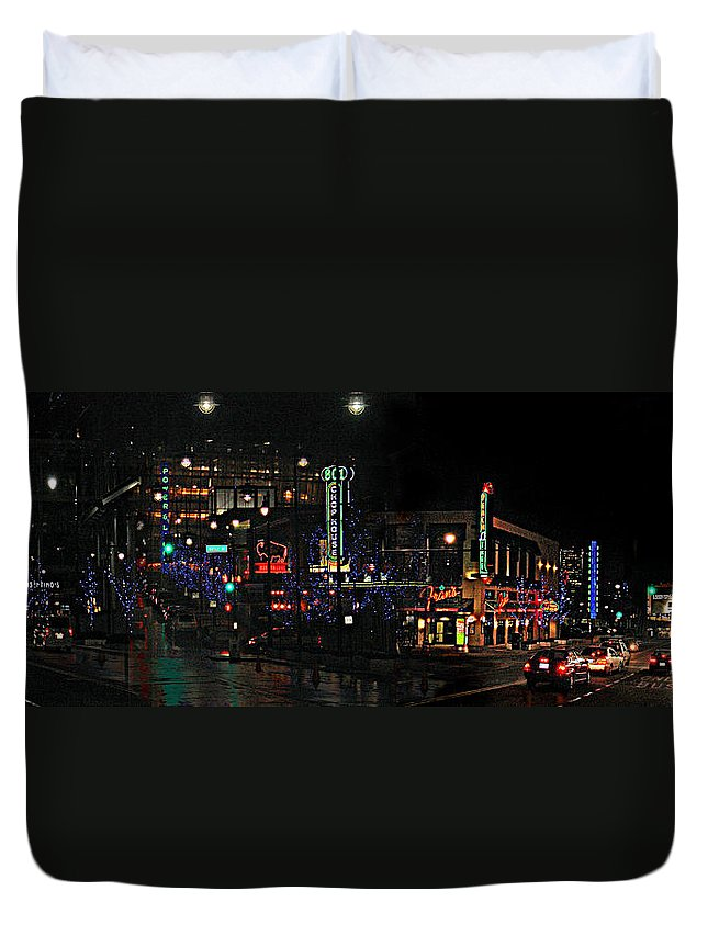 City Scape Duvet Cover featuring the photograph Fourteenth And Main by Steve Karol