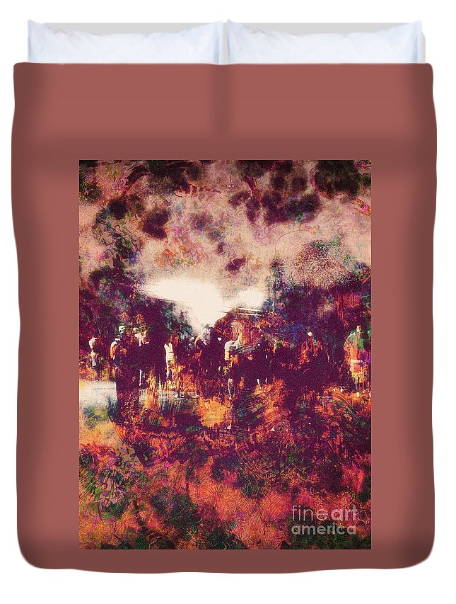 Abstract Duvet Cover featuring the digital art Fourth Of July by Davy Cheng
