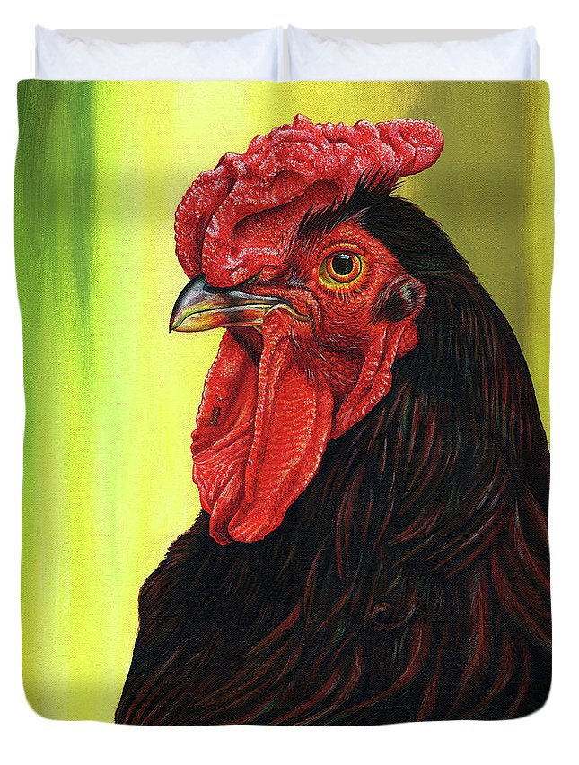 Rhode Duvet Cover featuring the painting Fowl Emperor by Cara Bevan