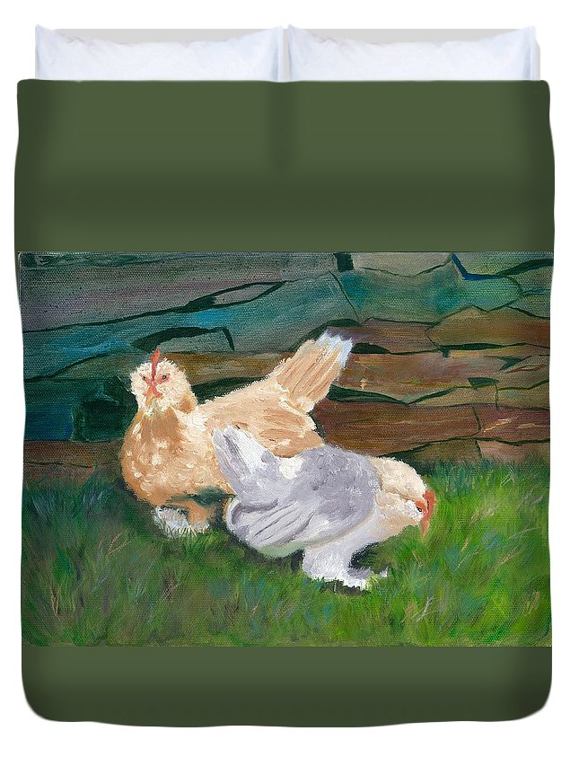 Chickens Bantams Countryside Stonewall Farm Duvet Cover featuring the painting Fowl Play by Paula Emery