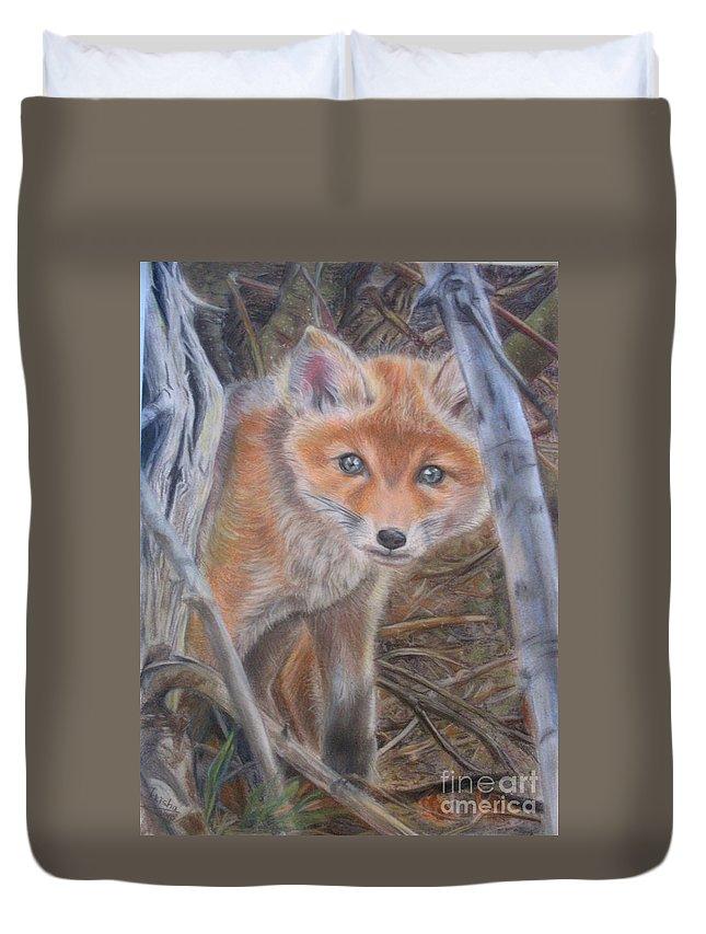 Animal Duvet Cover featuring the painting Fox Cub by Irisha Golovnina