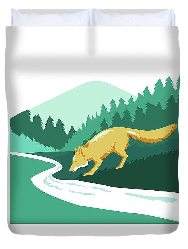 Fox Duvet Cover featuring the digital art Fox Drinking River Creek Woods Square Retro by Aloysius Patrimonio
