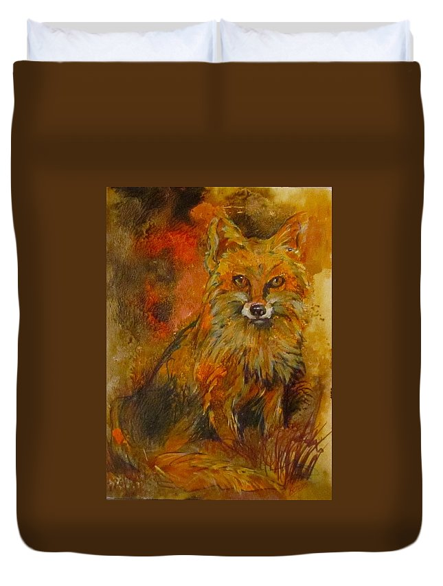 Fox Duvet Cover featuring the painting Fox Fire by Barbara O'Toole