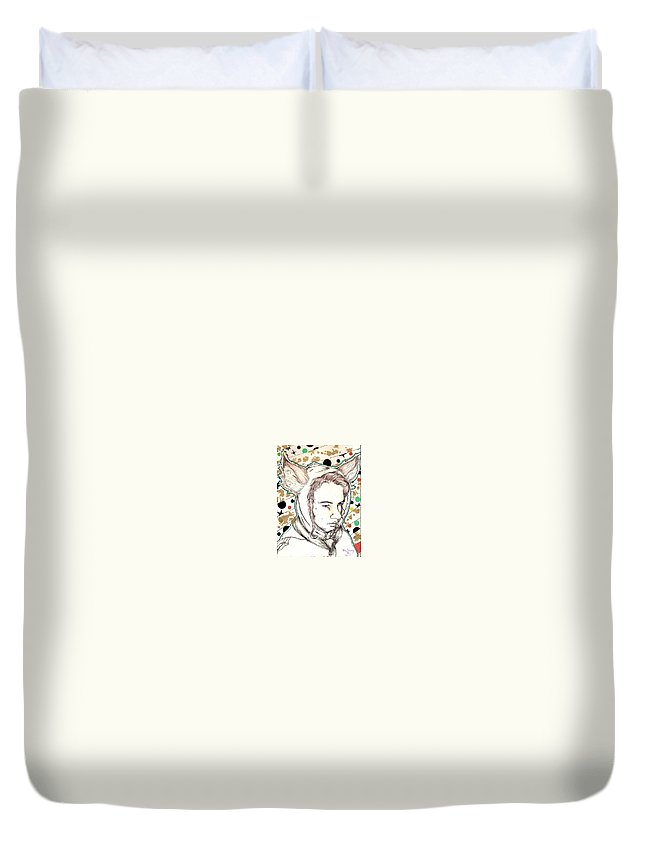 Ears Fow Star Boy Portrait Red Duvet Cover featuring the drawing Fox by Freja Friborg