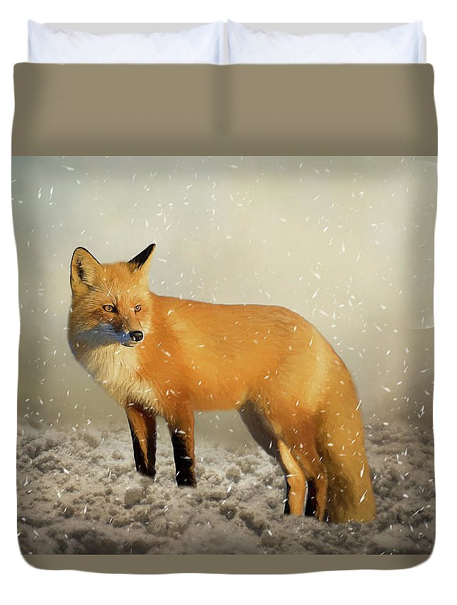 Fox Duvet Cover featuring the painting Fox In The Snowstorm - Painting by Ericamaxine Price