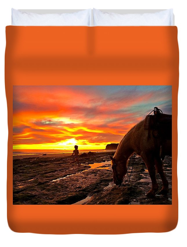 Sunset Duvet Cover featuring the photograph Fox In The Tidepools by JoJo Brown