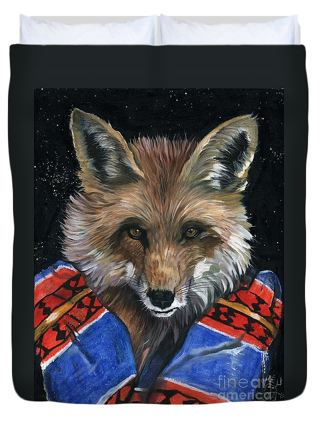 Fox Duvet Cover featuring the painting Fox Medicine by J W Baker