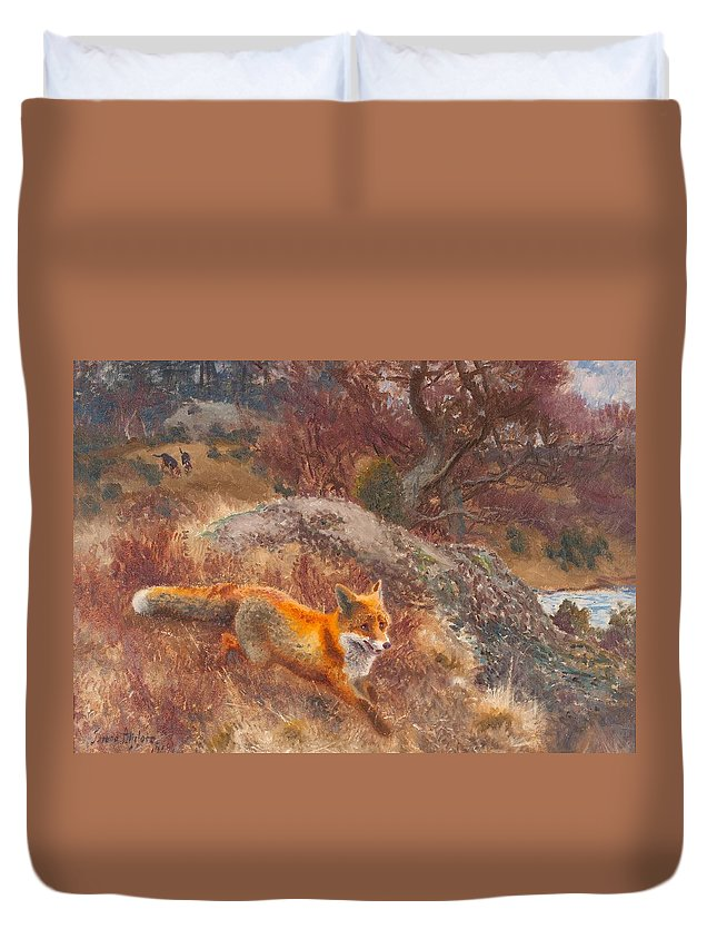 Bruno Liljefors Duvet Cover featuring the painting Fox With Hounds by Celestial Images