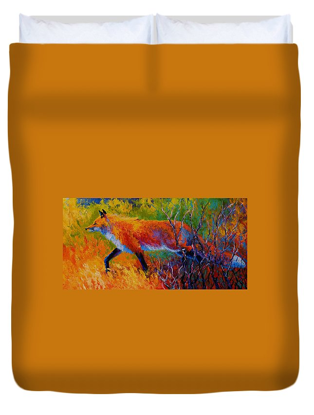 Red Fox Duvet Cover featuring the painting Foxy - Red Fox by Marion Rose