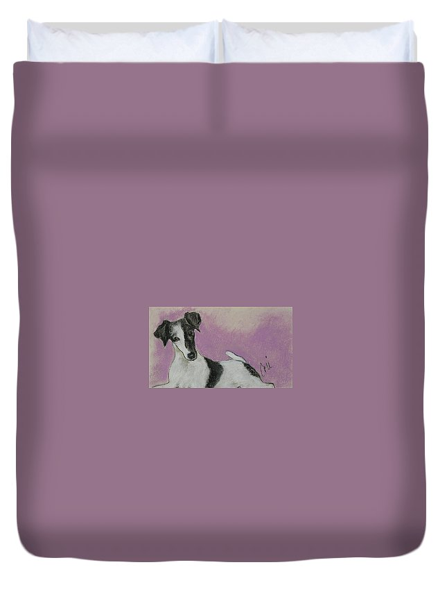 Dog Duvet Cover featuring the drawing Foxy by Cori Solomon