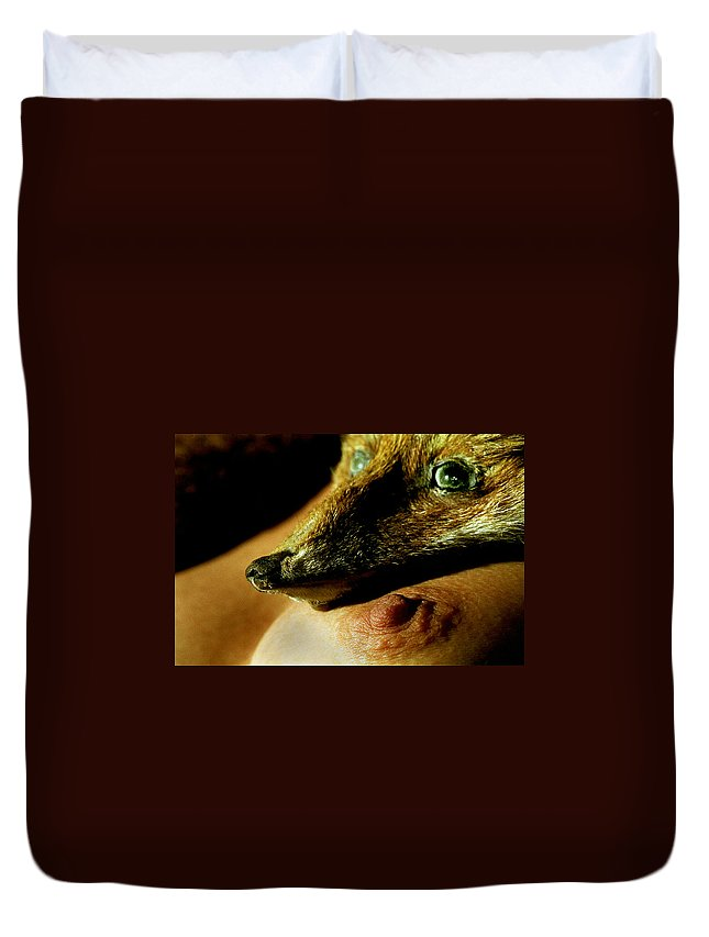 Fox Duvet Cover featuring the photograph Foxy Lady by Michael Mogensen