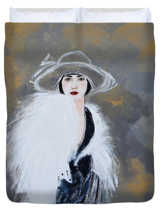 Lady With White Fur Duvet Cover featuring the painting Foxy Lady by Susan Adams