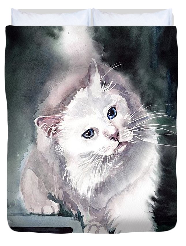 Little Duvet Cover featuring the painting Foxy Lady by Suzann Sines