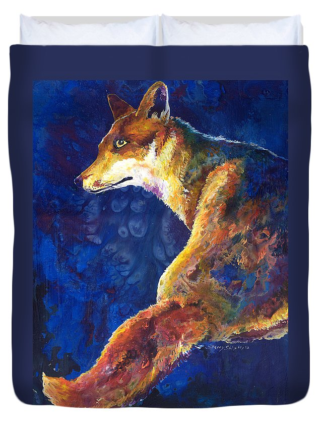 Fox Duvet Cover featuring the painting Foxy by Sherry Shipley
