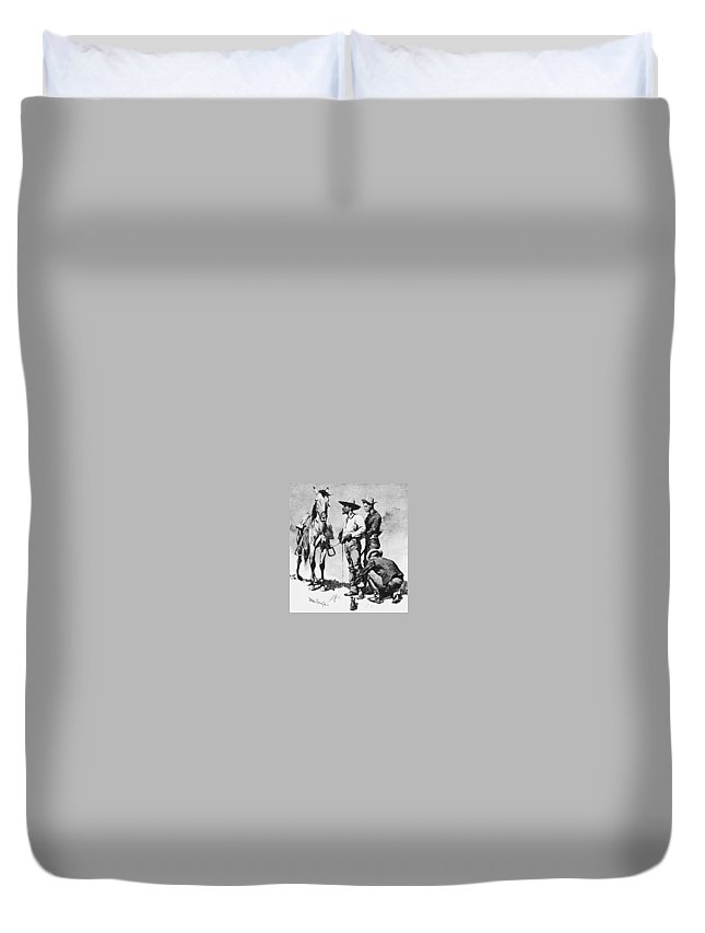 Drawing Duvet Cover featuring the digital art Fr 043 Third Cavalry Trooper Searching A Suspected Revolutionist Fredericremington Sqs Frederick Remington by Eloisa Mannion