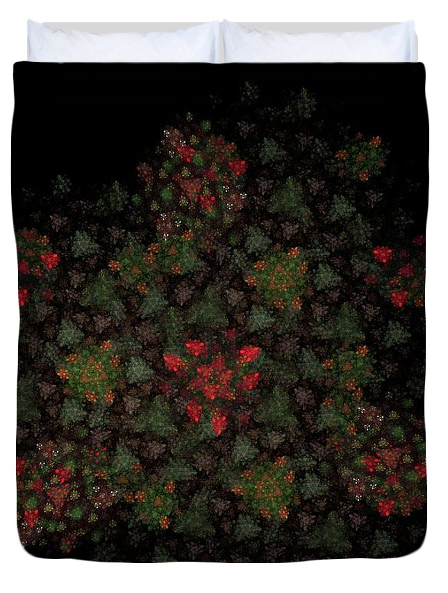Fantasy Duvet Cover featuring the digital art Fractal Christmasbouquet by David Lane