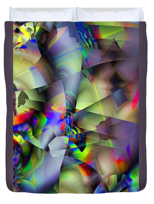 Fractal Duvet Cover featuring the digital art Fractal Cubism by Ron Bissett