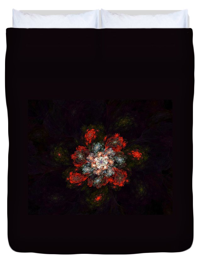 Digital Painting Duvet Cover featuring the digital art Fractal Floral 02-12-10-a by David Lane