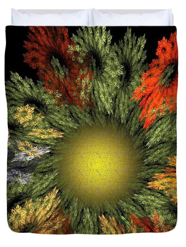 Fantasy Duvet Cover featuring the digital art Fractal Floral 12-05-09 by David Lane