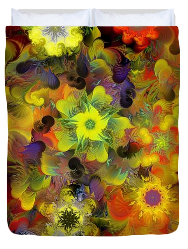Digital Painting Duvet Cover featuring the digital art Fractal Floral Study 10-27-09 by David Lane